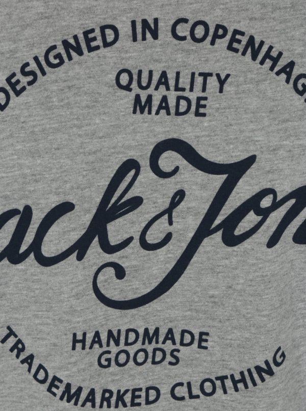 Sivé melírované tričko s potlačou Jack & Jones New Raffa