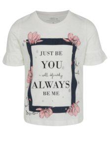 Krémové dievčenské tričko s potlačou name it Jobila