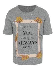 Svetlosivé dievčenské melírované tričko s potlačou name it Jobila