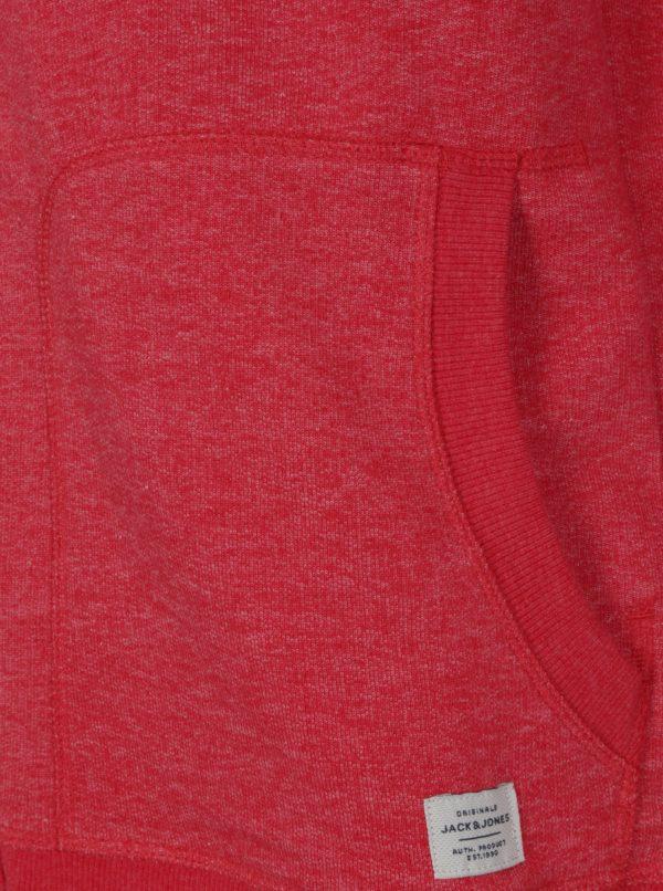Červená melírovaná mikina na zips Jack & Jones
