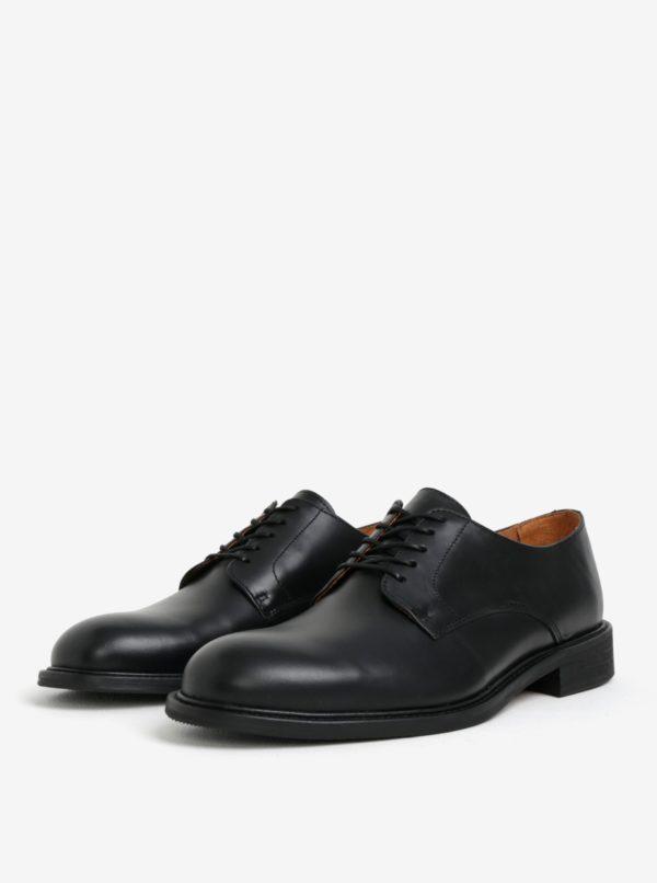 Čierne pánske kožené poltopánky Selected Homme Baxter