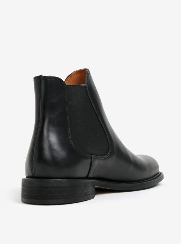 Čierne pánske kožené chelsea topánky Selected Homme Baxter