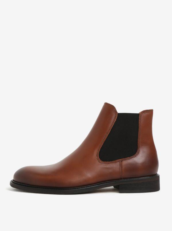 Hnedé pánske chelsea topánky Selected Homme Baxter