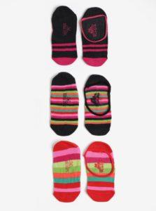Súprava troch párov dievčenských pruhovaných členkových ponožiek v ružovej farbe Bóboli