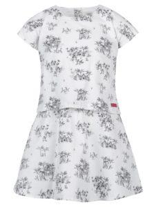 Biele vzorované dievčenské šaty s krátkym rukávom Bóboli
