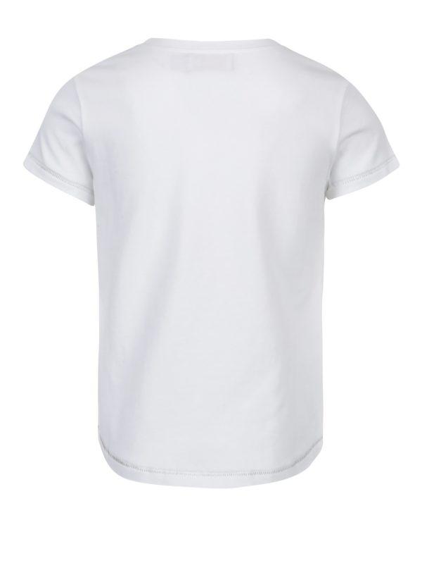 Biele dievčenské tričko s potlačou a krátkym rukávom Bóboli