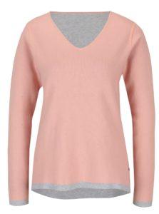 Sivo-ružový obojstranný melírovaný sveter Yest