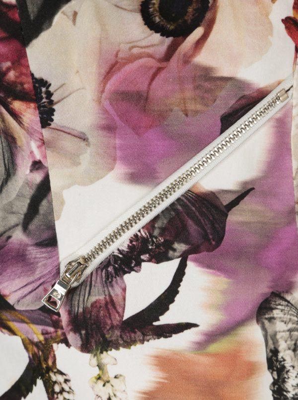 Krémové dámske kvetované sako so zipsom Pietro Filipi