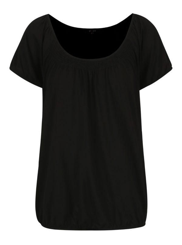 Čierne basic tričko s okrúhlym výstrihom Yest