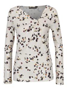 Krémové dámske vzorované tričko s ozdobným uzlom Pietro Filipi