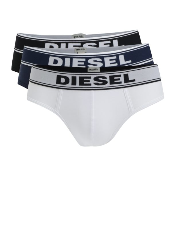 Súprava troch slipov v čiernej, bielej a tmavomodrej farbe s potlačou Diesel