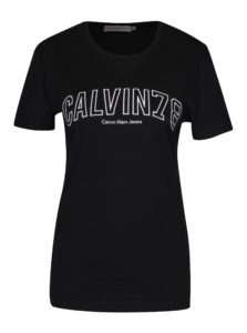 Čierne dámske tričko s vyšívaným logom Calvin Klein Tanya