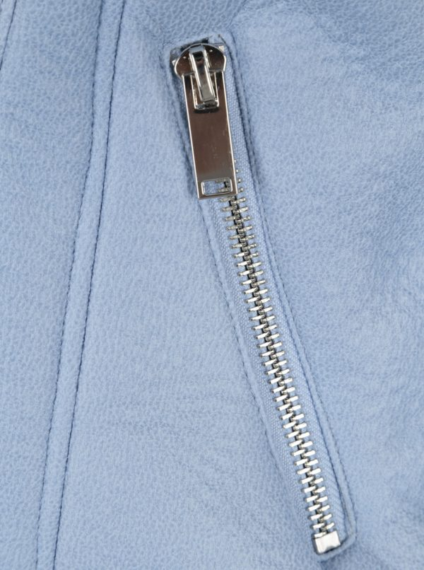 Svetlomodrá koženková bunda s umelým kožúškom Miss Selfridge