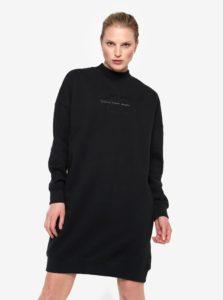 Čierne mikinové šaty s dlhým rukávom Calvin Klein Jeans Denver