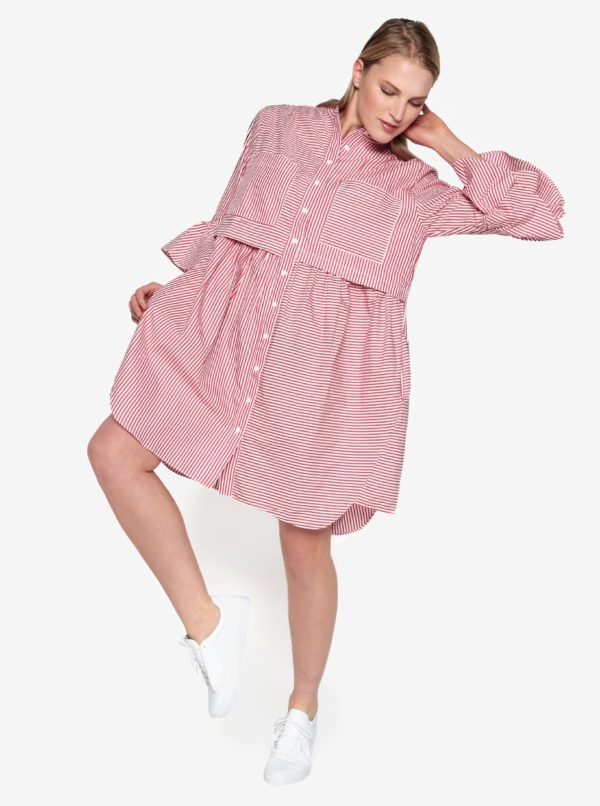 Krémovo–červené košeľové oversize šaty French Connection Summer