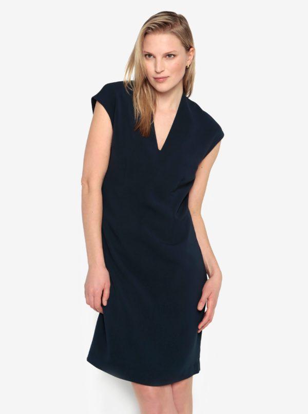 Tmavomodré šaty s véčkovým výstrihom Selected Femme Ninna