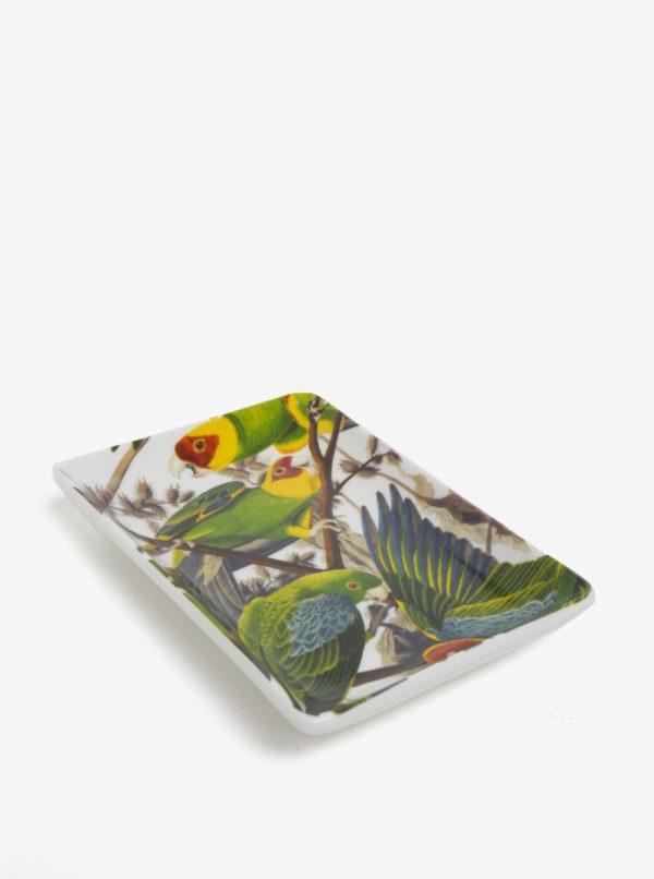 Biela miska s motívom papagájov Magpie Parrot