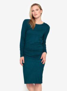 Petrolejové šaty s dlhým rukávom Selected Femme Acies