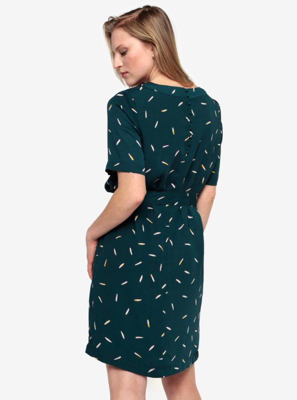 Petrolejové vzorované šaty s opaskom Selected Femme Catia
