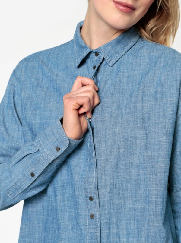 Modrá dlhá rifľová košeľa Selected Femme Brani