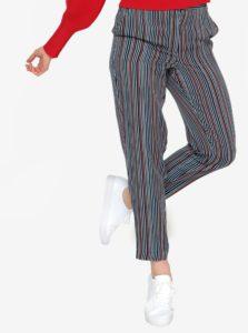 Tmavomodré skrátené pruhované nohavice Selected Femme Elisa