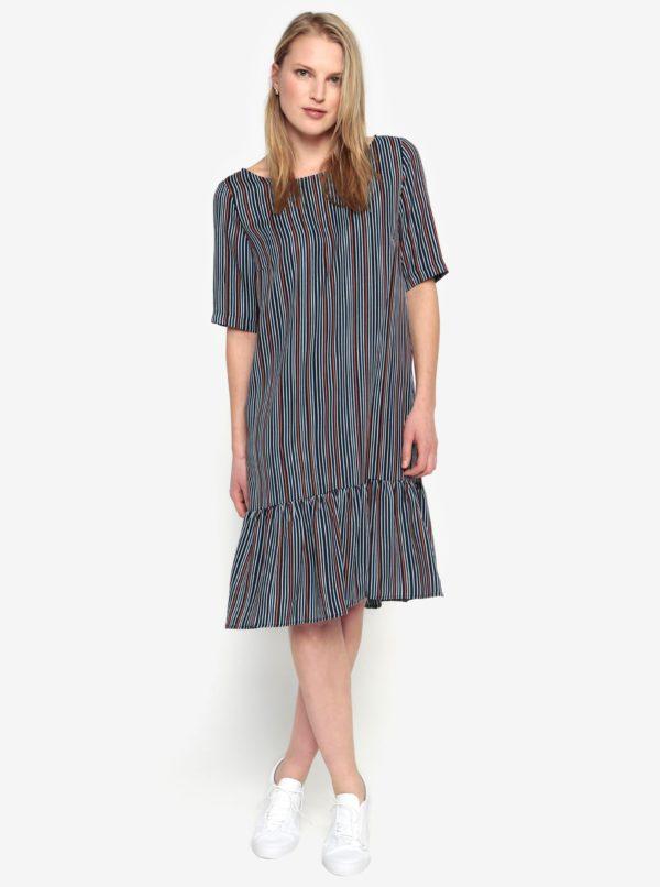 Tmavomodré pruhované šaty s volánom Selected Femme Elisa