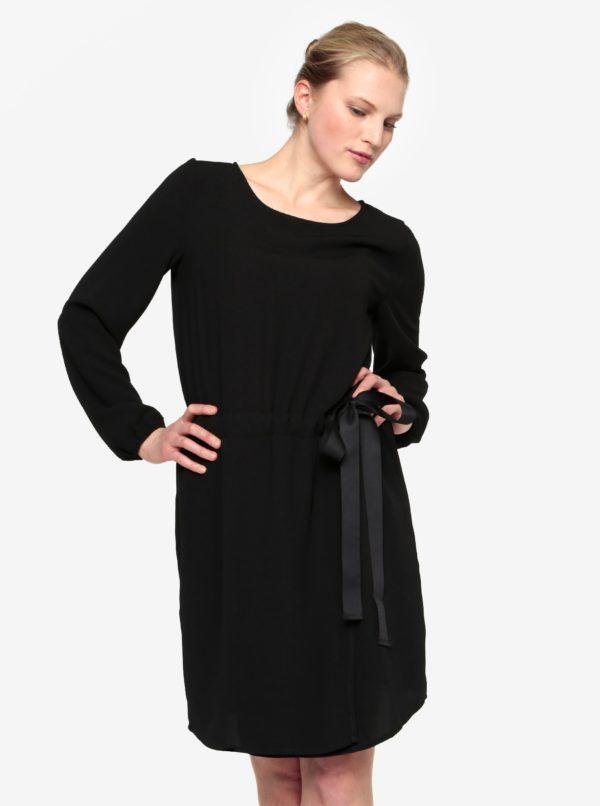 Čierne šaty s dlhým rukávom a sťahovaním v páse VILA Sarina