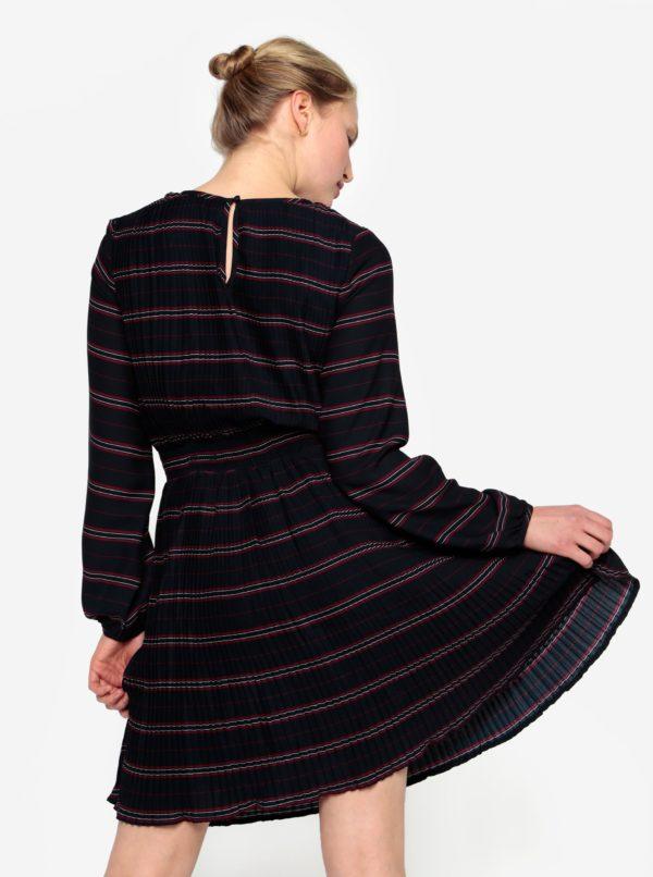 Tmavomodré plisované šaty s dlhým rukávom VILA Limit
