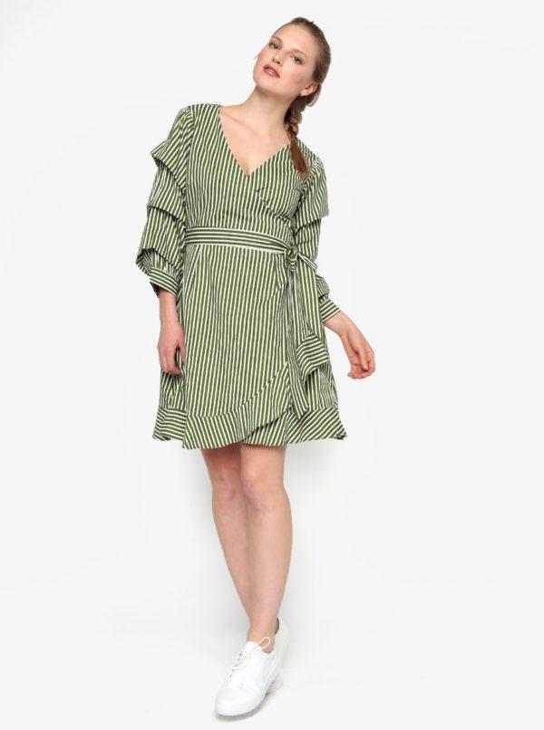 Krémovo-zelené zavinovacie šaty VILA Picana