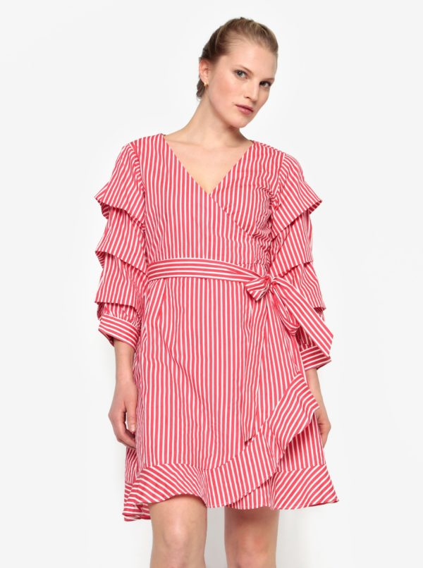 Krémovo-červené pruhované prekladané šaty VILA Picana