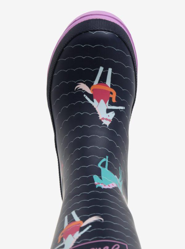 Tmavomodré dievčenské vzorované gumáky Tom Joule Welly