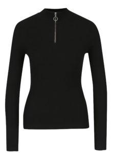 Čierne rebrované tričko s dlhým rukávom Miss Selfridge