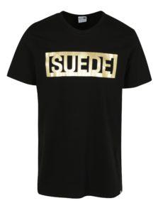 Čierne pánske tričko s potlačou v zlatej farbe Puma