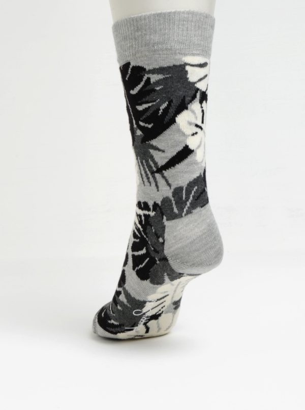 Súprava štyroch párov sivo-červených vzorovaných unisex ponožiek Happy Socks