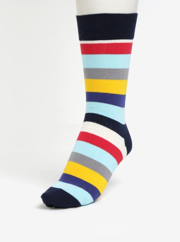 Žlto-modré pánske pruhované ponožky Happy Socks Stripe