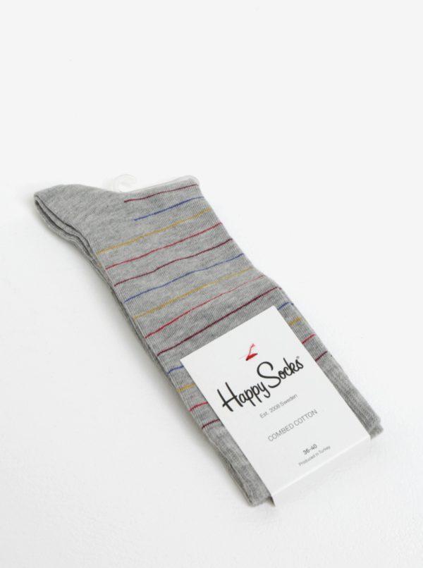 Sivé pruhované unisex ponožky Happy Socks Thin Stripe