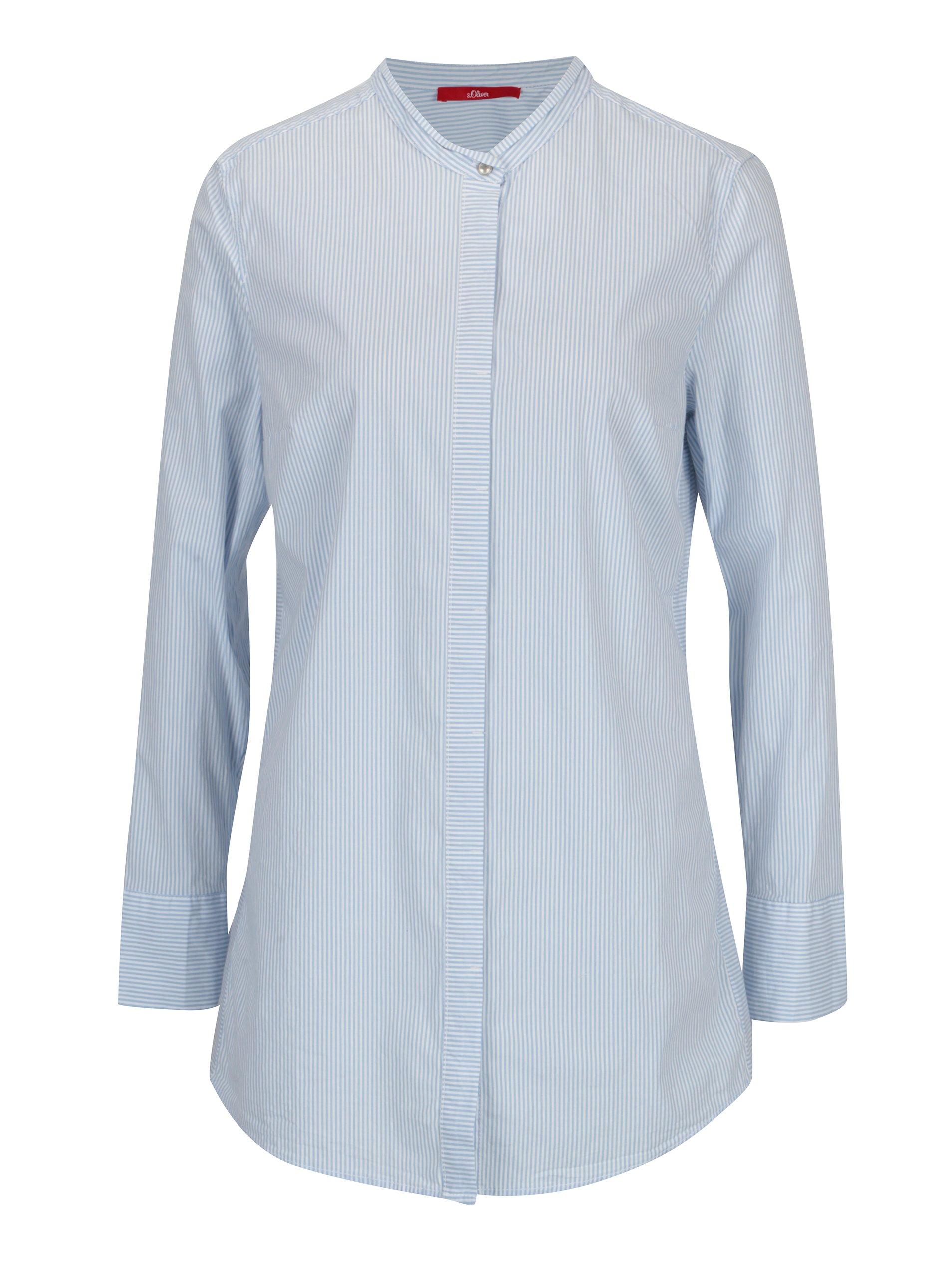 f15bfeb0241d Bielo-modrá dámska pruhovaná dlhá košeľa s.Oliver