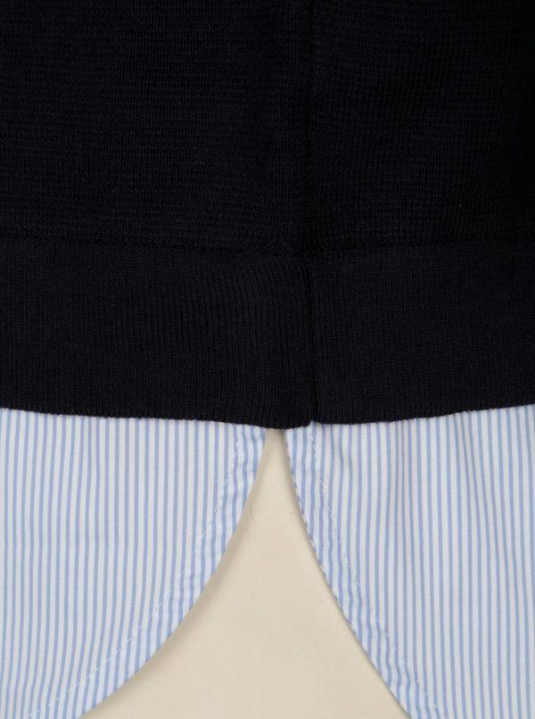 Tmavomodrý dámsky sveter so všitým košeľovým lemom s.Oliver