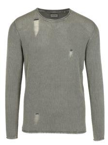 Béžový rebrovaný sveter s roztrhaným efektom Shine Original