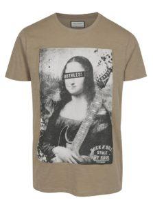 Béžové tričko s potlačou Shine Original Rebel