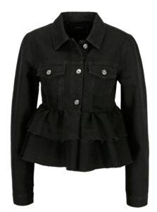 Čierna rifľová bunda s volánmi ONLY Stella