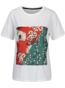 Biele tričko s kvetovanou nášivkou ONLY Rolanda