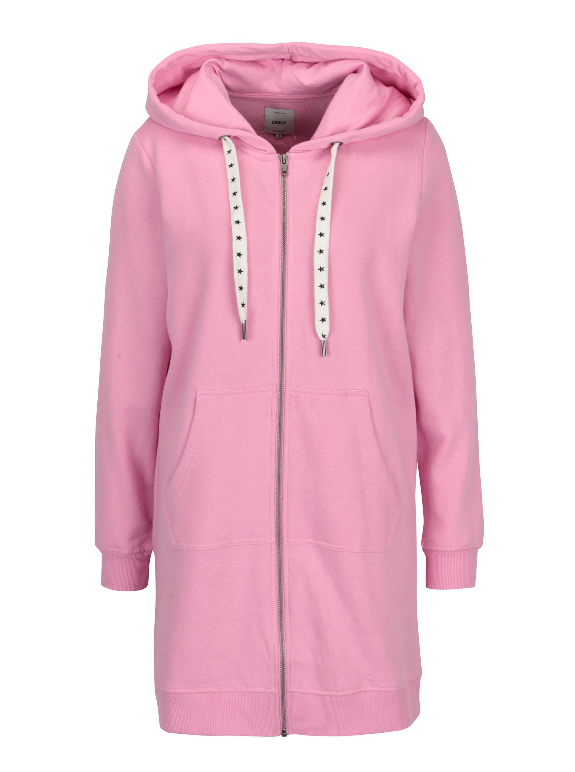 Ružová dlhá mikina s kapucňou ONLY Absolute  1fcecf32874