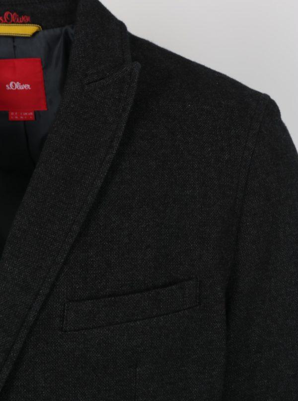 Čierne melírované pánske sako s.Oliver