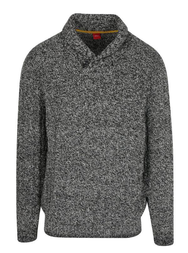 Čierno-biely pánsky melírovaný sveter s.Oliver