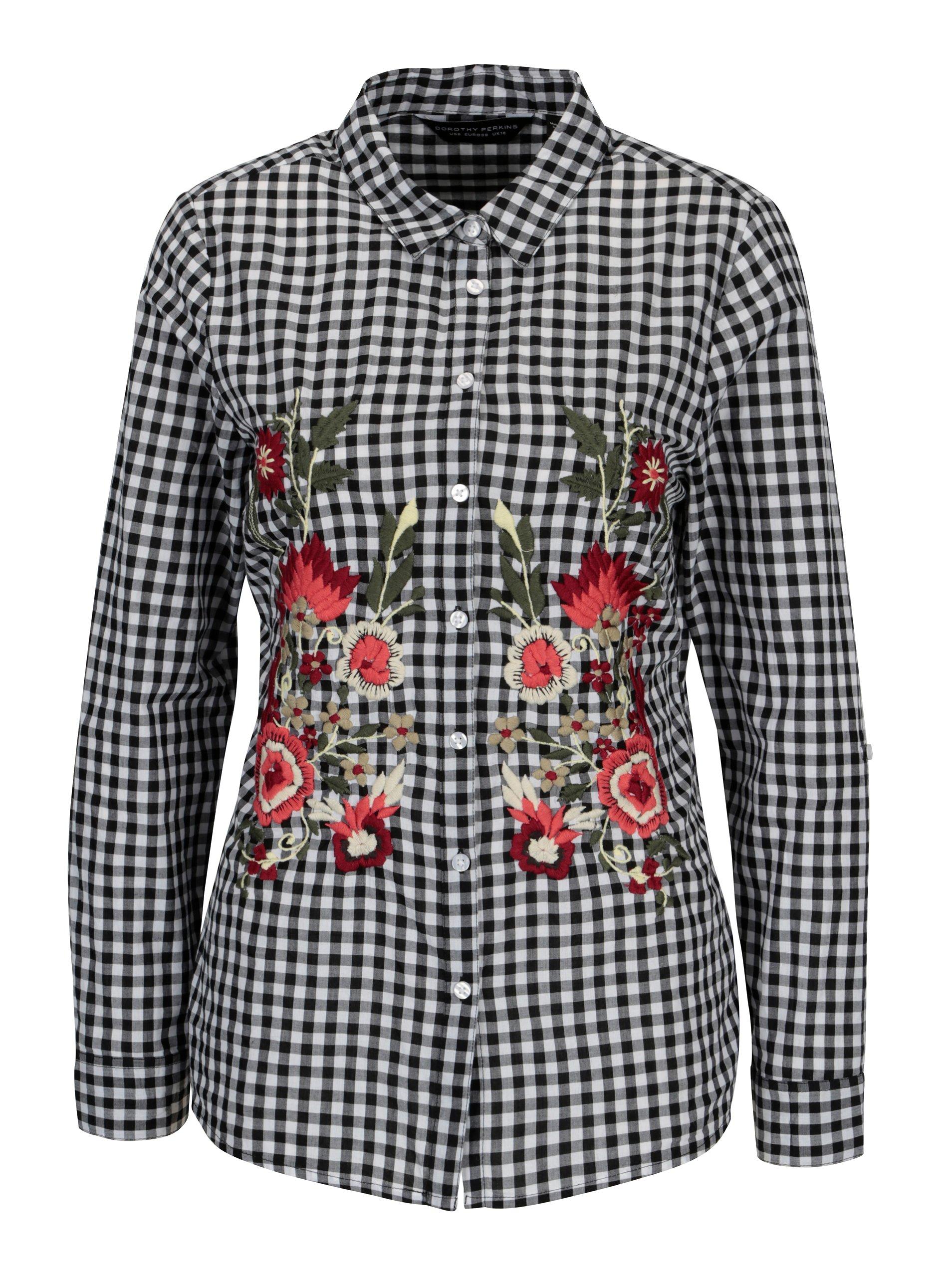 283a8e271a00 Bielo–čierna kockovaná košeľa s vyšívanými kvetmi Dorothy Perkins ...