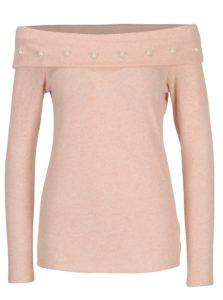 Svetloružový melírovaný sveter s odhalenými ramenami Dorothy Perkins