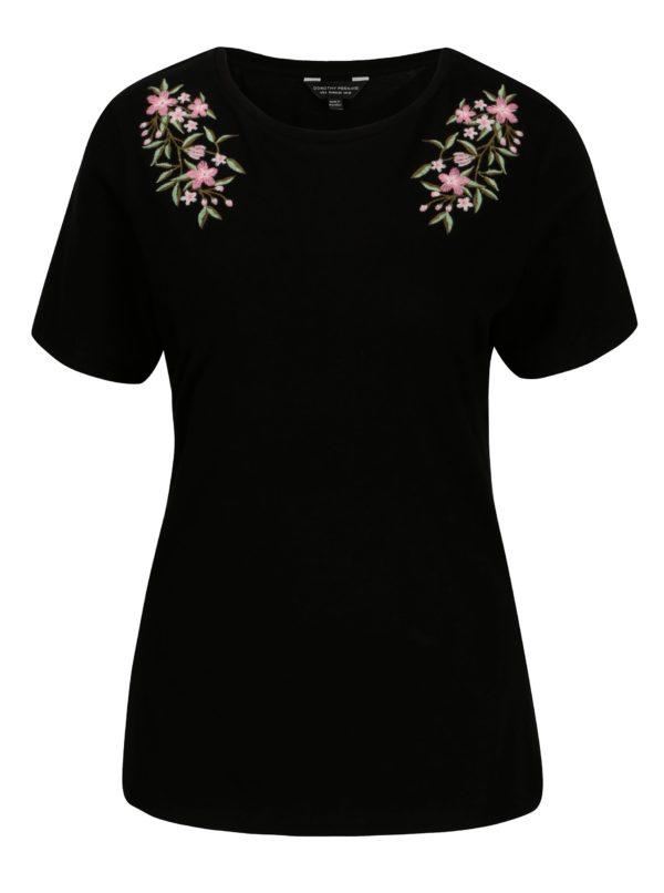 Čierne tričko s výšivkou Dorothy Perkins