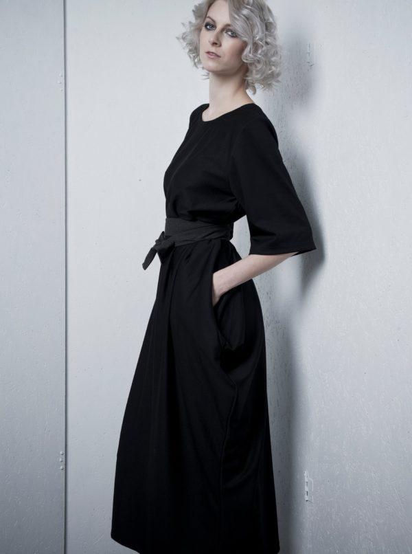 Čierne oversize šaty s opaskom La femme MiMi