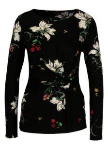 Čierne kvetované tričko s riasením Dorothy Perkins